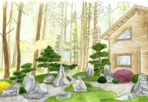 Эскиз дизайна сада, оформление сада